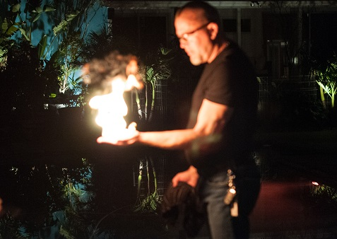 Officer Wes holds fire bubbles.  Photo by Scott B. Smith